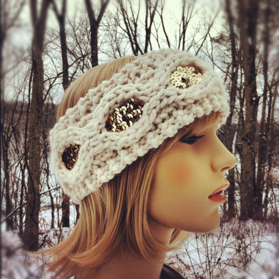 Flapper Girl Sequin Headband Earwarmer - Ivory and Gold - MADE TO ORDER