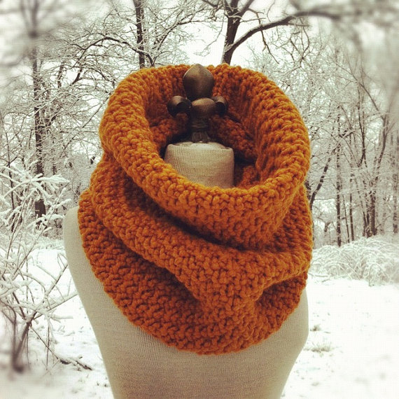 Oversized Chunky Cowl Snood Hood Scarf - Butterscotch