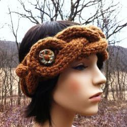 Chunky Braided Cable Headband Earwarmer with Artisan Button - Hazelnut