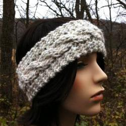 Chunky Cable Headband Earwarmer - Wheat - MADE TO ORDER
