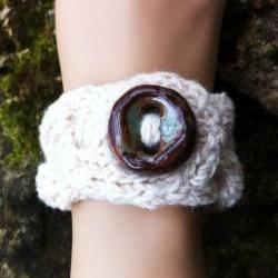 Cable Bracelet Cuff with Artisan Button - Ivory SUPER SALE DISCONTINUED