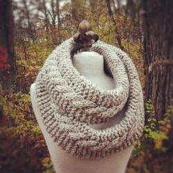 Chunky Infinity Scarf Loop Cowl - Oatmeal - MADE TO ORDER
